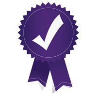 An achievement ribbon with a checkmark on it