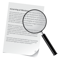 A magnifying glass over a piece of paper with text